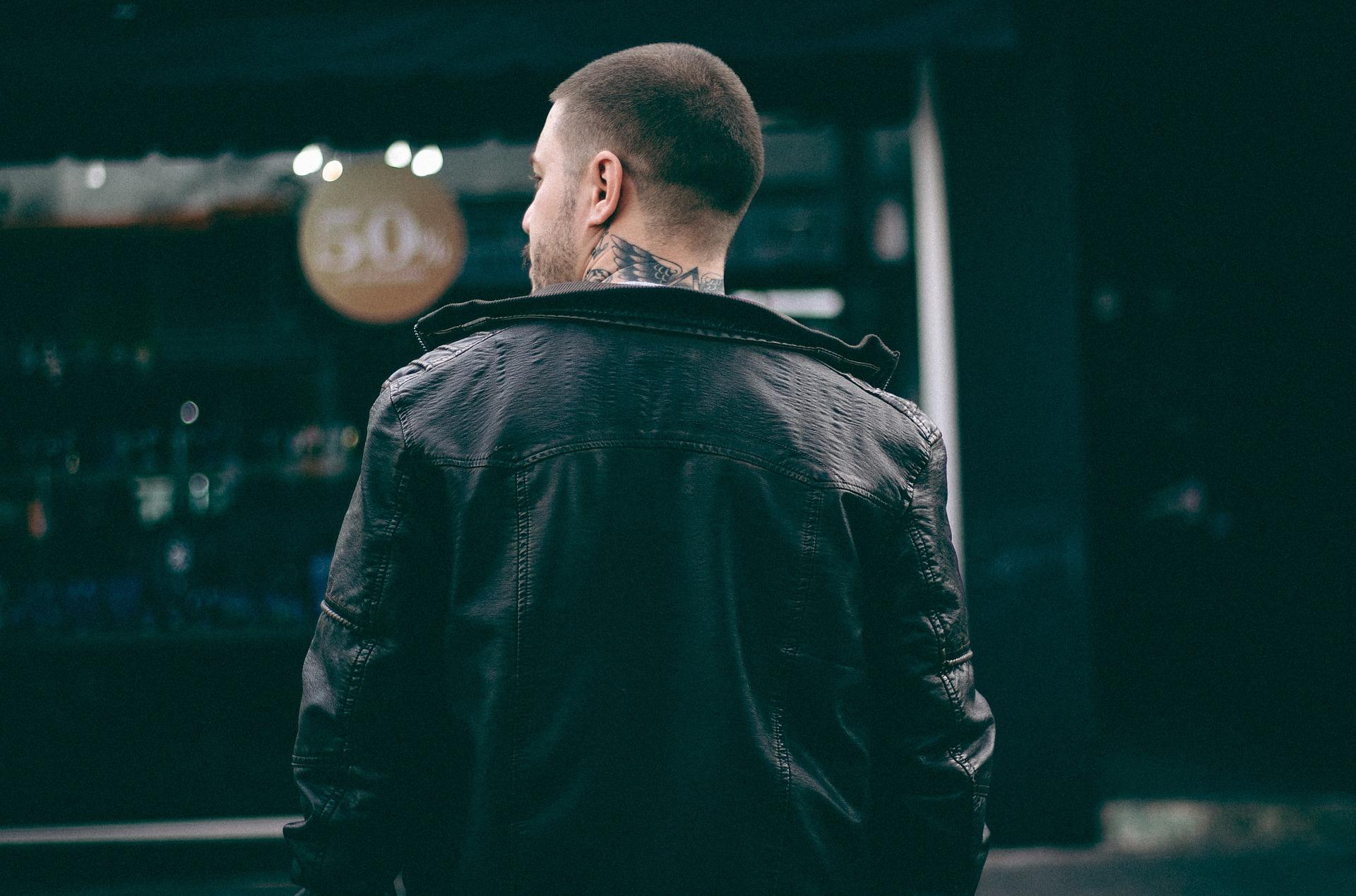 veste en cuir homme